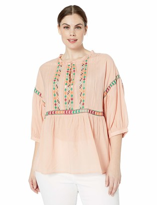 Lucky Brand Women's Plus Size BIB Embroidered Peasant TOP