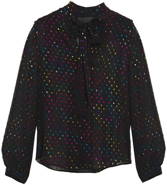 Love Moschino Pussy-bow Metallic Fil Coupe Georgette Blouse