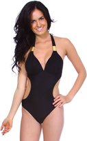 Simplicity One Piece Halter Side Cut out Monokini Swimwear Bikini