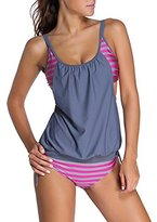 Sidefeel Women Stripes Lined Two Piece Tankini Set X-Large