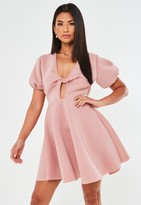 Missguided Blush Knot Front Puff Sleeve Skater Dress