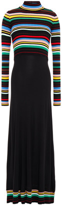 M Missoni Striped Ribbed-knit And Jersey Turtleneck Maxi Dress