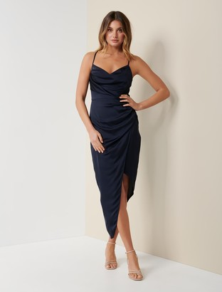 Forever New Kahlia Asymmetric Cowl Neck Dress - Navy - 4