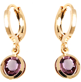 Sweet & Soft Gold & Purple Crystal Drop Huggie Earrings