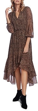 1 STATE Leopard Print High/Low Maxi Dress