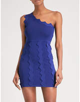 David Koma One-shoulder zigzag-trim mini dress