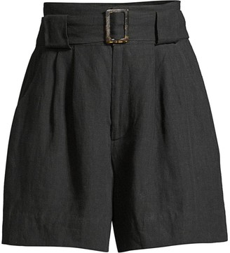 Solid And Striped Linen-Blend Paperbag Waist Shorts