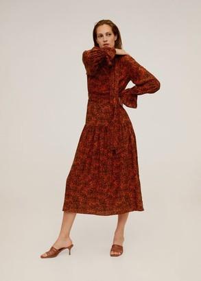 MANGO Midi printed dress orange - 6 - Women