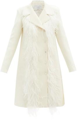 Giambattista Valli Feather-trim Wool-blend Coat - Ivory