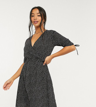 Influence Petite wrap dress with tie sleeve in lilac spot print