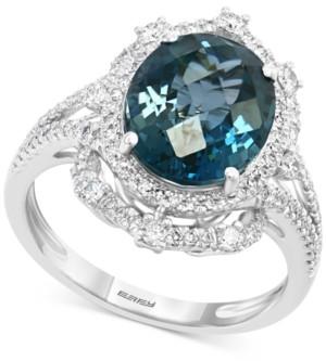 Effy London Blue Topaz (4-3/4 ct. t.w.) & Diamond (1/2 ct. t.w.) Ring in 14k White Gold