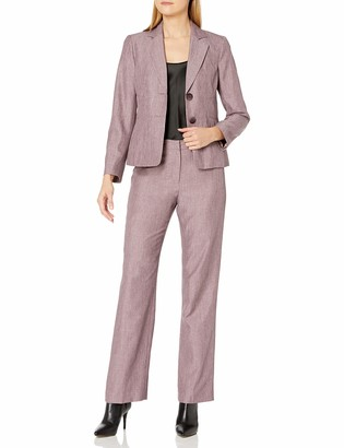Le Suit LeSuit Women's 2 Button Notch Collar Cross DYE Novelty Pant Suit