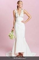 Oscar de la Renta Women's 'Daphne' Sleeveless Ruched Waist Lace & Silk Faille Trumpet Gown