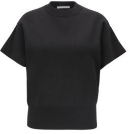 HUGO BOSS Short Sleeved Sweater With Mock Neckline - Black