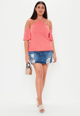 Missguided Plus Size Coral Cold Shoulder Top