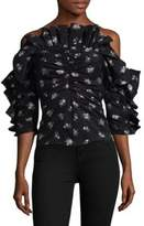 Rebecca Taylor Floral Print Mid-Sleeve Ruffle Top