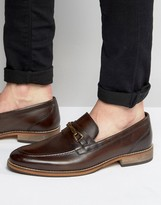 Asos Loafers In Brown Leather With Snaffle And Natural Sole