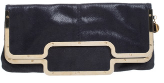 Stella McCartney Black Faux Leather Foldover Clutch