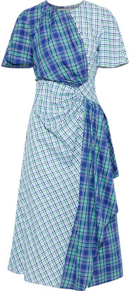 Prabal Gurung Draped Checked Cotton Midi Dress