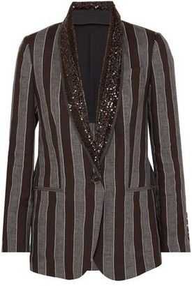 Brunello Cucinelli Sequin And Bead-embellished Striped Linen Blazer
