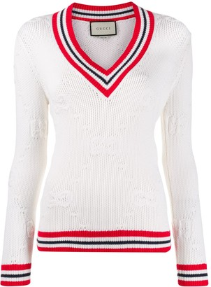 Gucci V-neck knitted logo sweater