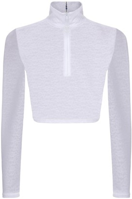 Adam Selman Sport Zip-Up L/S Crop Top