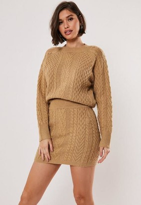 Missguided Tan Co Ord Cable Crew Neck Knit Sweater