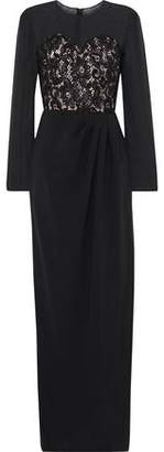 Max Mara Paneled Silk-chiffon, Corded Lace And Crepe Gown