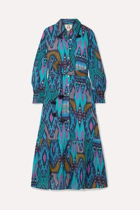 Figue Indiana Tasseled Printed Cotton Midi Dress - Blue