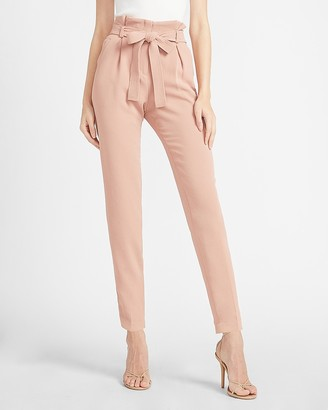 Express High Waisted Belted Paperbag Ankle Pant