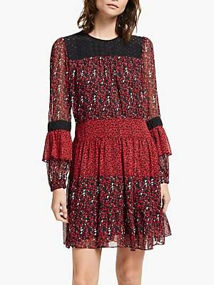 Michael Kors MICHAEL Maple Grove Dress, Black/Scarlet