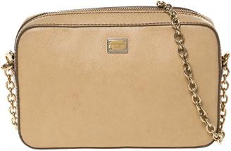 Dolce & Gabbana Beige Leather Glam Crossbody Bag