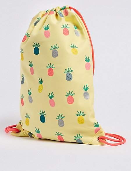 Marks and Spencer Kids' Pineapple Print Drawstring Backpack