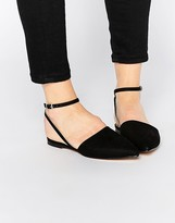 London Rebel Ankle Strap Point Slingback Flat Shoes