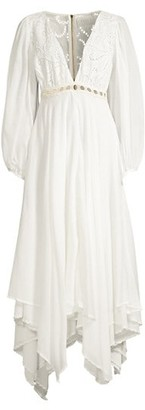 Azulu Tortugas Puff-Sleeve Cotton Eyelet Maxi Dress