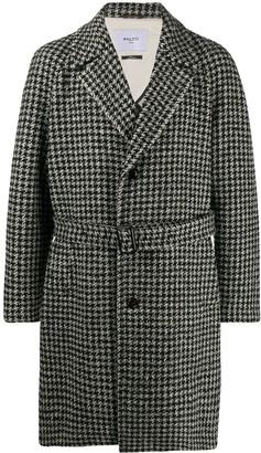 Paltò Houndstooth Belted Coat