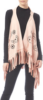 G Embroidered Fringe Vest