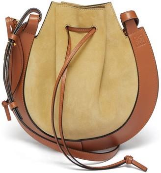 Loewe Horseshoe Suede And Leather Bag - Beige Multi