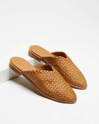 AERE - Women's Brown Flat Sandals - Woven Leather Mule Flats - Size 7 at The Iconic