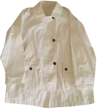 Henry Cotton White Cotton Trench Coat for Women Vintage