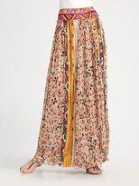 Parisa Pleated Silk Skirt