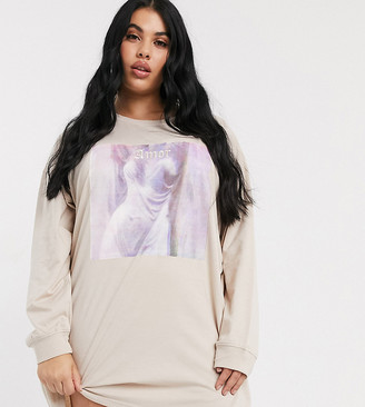 Public Desire Curve relaxed long sleeve sweatshirt dress with amor graphic