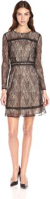 Cynthia Steffe Cece By CeCe by Women's Lauren-L/S Lace Dress with Trim