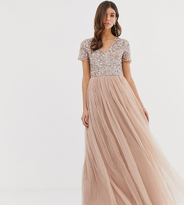 Thumbnail for your product : Maya Bridesmaid v neck maxi tulle dress with tonal delicate sequins in taupe blush