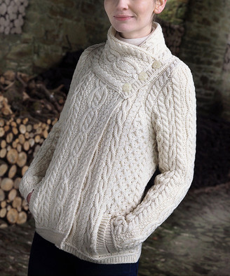 West End Knitwear Women's Non-Denim Casual Jackets NATURAL - Natural Three-Button Wool Jacket - Women