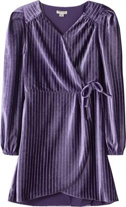 Habitual Kids' Metallic Stripe Velour Dress
