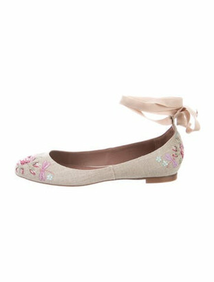 Tabitha Simmons Printed Embroidered Accent Ballet Flats Blue