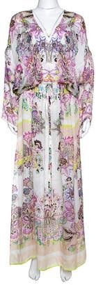 Roberto Cavalli White Floral Print Silk Sheer Maxi Kaftan L