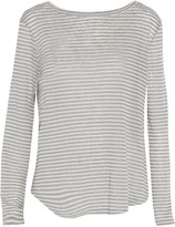 Enza Costa Striped gray and white linen-blend top