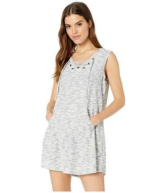 Dotti Sandstone Laced-Up Hoodie Tunic Cover-Up
